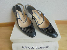 Original manolo blahnik cuero pumps NP: 699 € W Nuevo zapatos de tacón alto talla 39