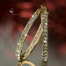 18k yellow gold gp genuine SWAROVSKI crystal hoop stud earrings oval hoops