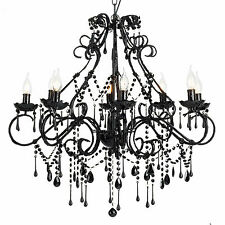 Large Vintage Chandelier 8 Light Shabby Black Crystals and Beads - Florence NEW