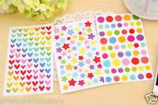 6-sheet Rainbow Color dots stars Hearts Scrapbook Deco Craft Stickers Sticker