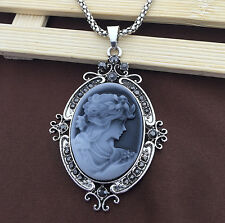Antique Silver Plated Grey Cameo Charm Pendant Sweater Chain Victorian Necklace