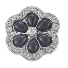 3D Rhinestone Pearl Snaps Chunk Charm Button Fit  Leather Bracelets  DIY A2