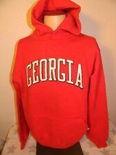 vtg 80s UNIVERSITY OF GEORGIA BULLDOGS red hooded hoodie sweatshirt men's large