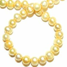 """NP554 Golden Yellow 6-7mm Semi-Round Cultured Freshwater Pearl Gemstone Bead 15"""""""
