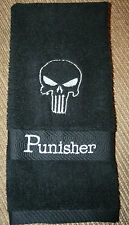 """Punisher"" Black Hand Towel with white thread machine embroidered NWOT"
