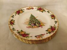 ROYAL ALBERT OLD COUNTRY ROSES CHRISTMAS MAGIC  4 Salad Plates England