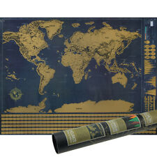 Scratch off World Map With 252 Flags Standards and USA Cities Region New Version