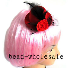 Red 1pc Ladies Elegant Mini Top Feather Hat Fascinator Hair Clip Party Costume