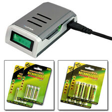 ULTRA QUICK INTELLIGENT LCD BATTERY CHARGER + 16 AA AAA RECHARGEABLE BATTERIES