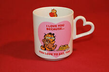 Vintage 1978 Garfield Cat I Love You Valentines day Coffee Cup Mug