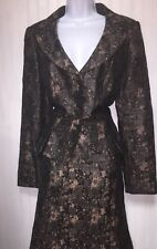 ISABEL AND NINA WOMENS BLACK LIGHT TOFFEE BROWN BUSINESS SKIRT SUIT SIZE 14