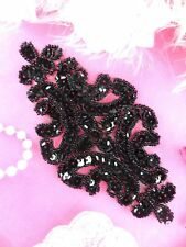 XR352 Sequin Applique Black Beaded Bridal Patch 6""