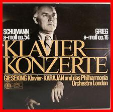 """SCHUMANN GRIEG A-MOLL KLAVIERKONZERTE WALTER GIESEKING VON KARAJAN 12"""" LP (B655)"""