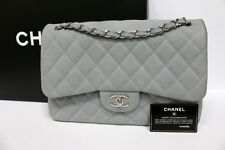 100% Auth Chanel Jumbo Classic In Grey Suede Caviar Leather