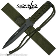 "New In Box Survivor HK-7521 Military Survival Style Fixed Blade 7"" Green Sheath"
