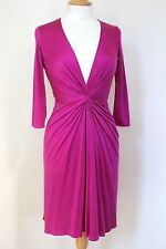 ISSA Pink Deep V-Neck Silk Jersey Dress uk 8