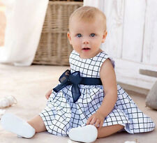Toddler Baby Girls Clothing Casual Sleeveless Skirt Bowknot Plaids Dress 18-24M