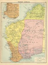 1929 MAP ~ WESTERN AUSTRALIA ~ INSERTO PERTH & ALBANY DISTRICT EUCLA