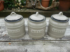 Country Vintage Style Taupe Ceramic Set Of 3 Tea,Coffee,Sugar Canisters Jars