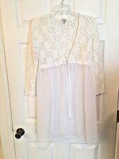Gorgeous CINEMA ETOILE Lace & Chiffon  BRIDAL White peignoir Robe Sz Large