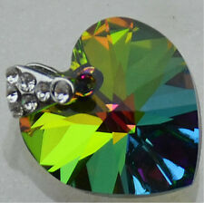 Silver Plate SWAROVSKI ELEMENTS 6228 Heart Pendant AB Green