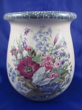 Home & Garden Party FLORAL Utensil Holder Crock May 2000 Made in the USA