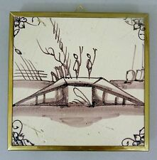 Keramik Fliese / Kachel Holland 18. Jahrhundert Messingrahmen / Untersetzer #6