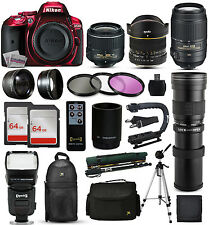 Nikon D5300 Red DSLR Camera + 18-55mm VR II + 55-300mm VR + 420-800mm + 128GB