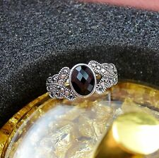 Sz 8 Ladies Oval Black Marcasite 18k White Gold Filled Royalty Silver Women Ring