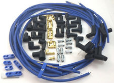 SBC SB Chevy Universal Blue Taylor 8 MM Spark Plug Wires 90 Degree W/ Looms 350
