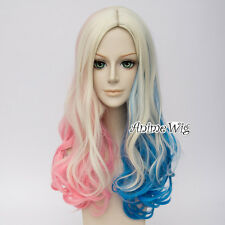 For Harley Quinn Blonde Blue Pink Curly Long Hair Women Cosplay Wig Halloween