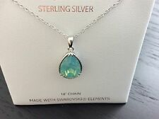 New Harper Rae Sterling Silver Necklace with Pacific Opal Swarovski Crystal 18""