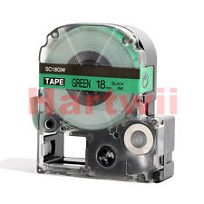 """EPSON LC-5GBP Compatible 3/4 x 26""""  Label Tape Black on Green 18mm 8m  LW400 700"""