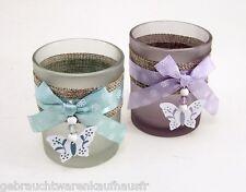 Windlicht Glas 2Stk Teelicht Kerzenhalter schönes Dekor & Farbspiel rund 8,5 x 7