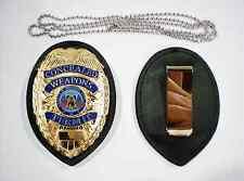 GOLD Concealed Weapons Permit Metal Badge + CLIP HOLDER + NECK CHAIN