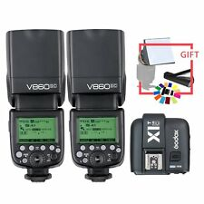 2*Godox V860II-C TTL 2.4G  Wireless Li-ion Flash+X1T-C Transmit For Canon+gift