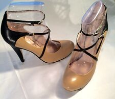 DUNE Ladies Black & Tan Leather Ankle Strap Heels UK 7, EU 40, US 9