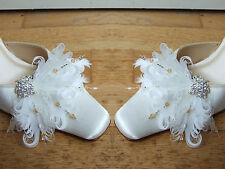 """Bridal Curled Peacock Goose Feather White Cream Crystal Shoe Clips """"Faneva"""" Pair"""
