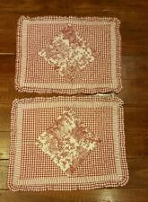 2 Standard Quilted Shams French Country Red Toile Cotton Country Living EUC