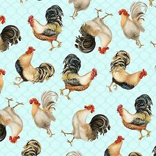 Fabric Roosters Farm on Light Blue Cotton 1 Yard