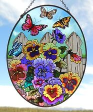 """AMIA Stained-Glass Look Large""""Pansies & Butterflies"""" Suncatcher- Hand Painted"""