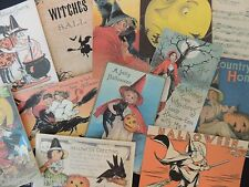 Lot of 12 VINTAGE Halloween WITCHES Witch DIE CUTS for CRAFTS | H35 | FREE SHIP