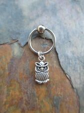 Silver Cute Owl Cartilage Piercing Captive Ring Tragus Earring 16 Gauge 1/2""
