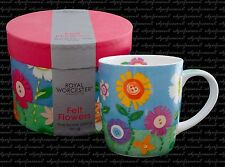 ROYAL WORCESTER FELT FLOWERS MUG BOXED