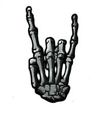 Skeleton Hand Horns Up Metal Sign Patch Iron on Applique Occult Clothing Wacken
