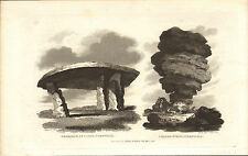 cromlech at leyon & cheese - wring cornwall  1821 engraving !
