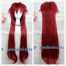 90cm Long Black Butler Grell Sutcliff Deep Red Cosplay Wig +Free Wig Cap
