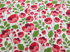 Ivory & Pink Poppy Floral Printed 100% Cotton Poplin Fabric. Price Per Metre.