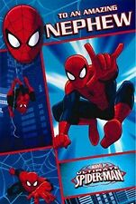 ULTIMATE SPIDERMAN TO A AMAZING NEPHEW BIRTHDAY CARD & BADGE NEW MARVEL