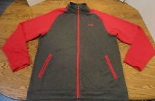 FREE SHIPPING - Mens Under Armour UA Track Jacket Full Zip Size XL Grey / Red